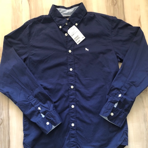 99a4bc7d728 NWT boys H M long sleeve button down shirt navy